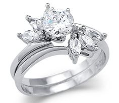 Awesome Strong White Gold Solitaire CZ Cubic Zirconia Engagement Two Ring Set New one. Beautiful Engagement Rings, Engagement Wedding Ring Sets, Solitaire Engagement, Wedding Sets, Vintage Engagement Rings, Wedding Jewelry, Wedding Rings, Wedding Stuff, Expensive Rings