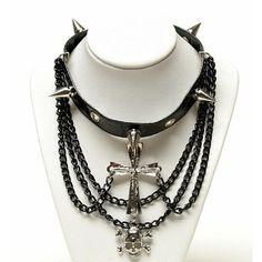Black Leather Skull Cross Spike Steam Punk Rock Jewelry Chokers SKU-71110015