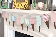 Foiled Summer Ice Cream Banner using the Minc Foil Applicator Machine Bunting Template, Bunting Banner, Buntings, Banner Ideas, Banners, Ice Cream Theme, Ice Cream Party, Summer Crafts, Crafts For Kids