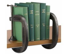 Clamp bookends- Love this for the boys rooms!