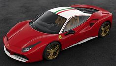 - Exterior in Rosso Corsa. Special livery dedicated to the original car. Scuderia Ferrari shields airbrushed on fenders, in a bigger size, feature typical of the old race cars. Rims painted in matt gold. Ferrari 488 Gtb, Ferrari 2017, Ferrari Racing, Ferrari Car, Lamborghini, Automobile, F12 Berlinetta, Old Race Cars, 70th Anniversary