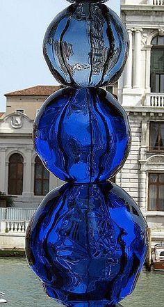 guggenheim museum, glass art, museums, blue glass, sea art, cobalt blue, venice italy, sculptur, place