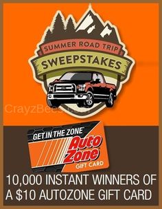 AutoZone Summer Road Trip Instant WIN Game WIN 1 of 10,000 $10 Gift Cards & MORE ENTER DAILY-ENDS 7/27