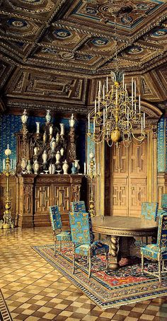 RUSSIAN MANORS ~ Palace of Count Pavel Stroganov, Oberschenk and collectioner, sponsor and count during the era of Nikolay II. The Dining Room of Stroganovs Palace, the 19th century ~