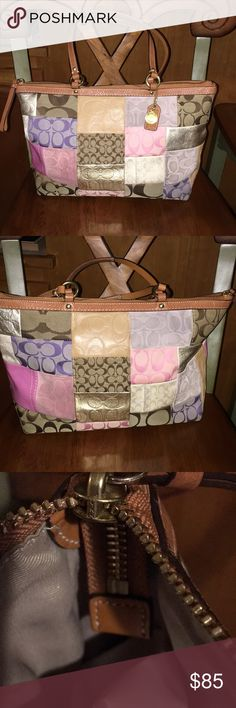 Coach Spring Signature Patchwork No.ok 893-f11711 Item is in good USED  condition with normal wear. Coach Bags Shoulder Bags