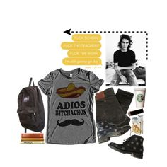 A fashion look created by freezespell featuring black jeans, , adios tshirt, . Browse and shop related looks. High School Fashion, Rio, Boss, Black Jeans, Fashion Looks, T Shirt, Shopping, Style, Supreme T Shirt