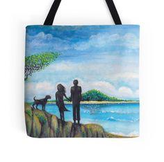 beach walking the dog tropical paradise art picture print beach bag by melanie dann