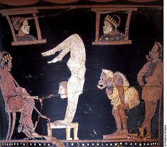 Mixing Vessel with Dionysos and Performers (detail) acrobats,actors. Ancient Roman Coins, Ancient Rome, Ancient Greece, Ancient Art, Greek Pantheon, Greek Pottery, Roman Art, Minoan, Fresco