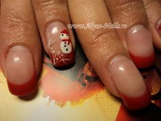#nails #french #red #winter #acrylicpaint #snowman