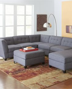 Harper Fabric 6-Piece Modular Sectional with chaise - Couches & Sofas - Furniture - Macy's