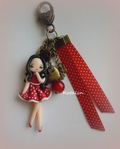 Chibi in red dress entirely handmade with polymer clay (FIMO). By Katalin Handmade (2012)