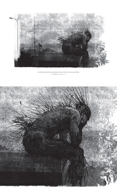 Jim Kay; Collograph; A Monster Sitting (from the book 'A Monster Calls' by Patrick Ness)