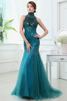 2014 Sequined Mermaid  High Neck Peacock Blue Prom Dress