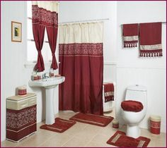 Maroon Red Bathroom Rugs Set