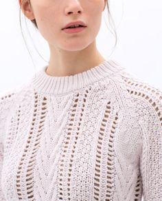 Image 6 of OPEN-WORK CABLE KNIT SWEATER from Zara Knitwear Fashion, Knit Fashion, Sweater Fashion, Moda Crochet, Pullover Mode, Cable Knit Jumper, Knitted Slippers, How To Purl Knit, Sweaters For Women