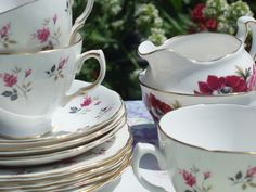 Cream Jugs, Cups and Bowls #vintage #teacups