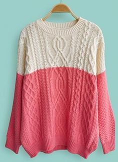 Dark Pink White Long Sleeve Cable Knit Sweater - Sheinside.com