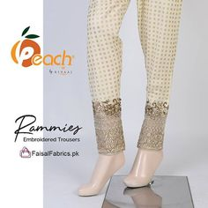 Stitched Cambric Stuffed Printed Trousers with Embroidered Bottoms. Price: Rs. 850/- Shop Now: http://ift.tt/2FdGvwO #TrouserCollection #Embroidered #PeachByRivaaj #FaisalFabricsPK
