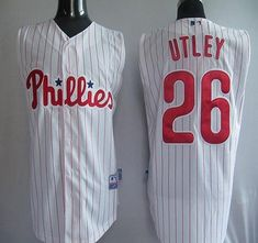 e6f598c7342f8 Phillies #26 Chase Utley White(Red Strip) Vest Style Stitched MLB Jersey