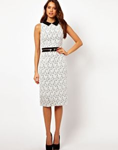 Hybrid Lace Midi Dress with Collar
