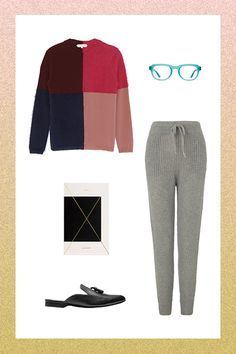 How To Look Awesome Even When You're Hibernating #refinery29  http://www.refinery29.com/weekend-loungewear#slide-1  Working Remotely Whether you're cramming for an exam, writing an article (ahem), or engaging in other professional pursuits, working from home definitely has its perks. PJs are a viable outfit option, but a slightly more put-together look of sweater, ribbed sweatpants, and flat mules channels a more productive vibe.