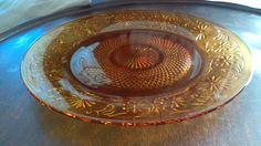 "1940s Amber Indiana Depression Glass Daisy Pattern Torte / Cake Plate - 11 3/10"" by TheCelticBelle on Etsy"