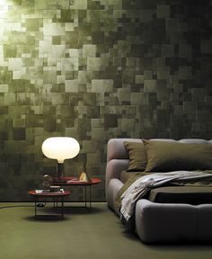 Studioart - leather wrapped wall tiles.