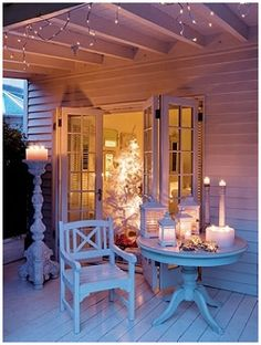 candles, white, porch, lights, romantic