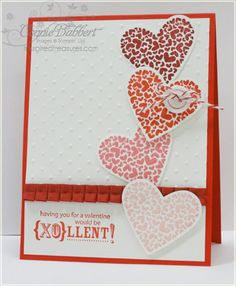 P.S. I Love You with pleated ribbon & embossing folder