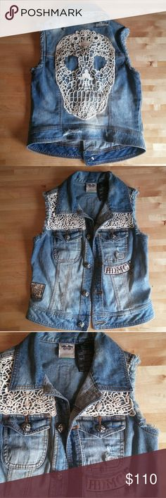 Harley Davidson skull denim vest This awesome piece is made of distressed, light wash denim, and features studs, patches, and a crocheted skull on the back. In great shape. Harley-Davidson Jackets & Coats Vests