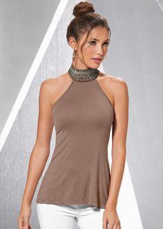 Blusa taupe encomendar agora na loja on-line bonprix.de  R$ 109,00 a partir de Blusa confeccionada em viscose com elastano. É possível usar gola alta no ...