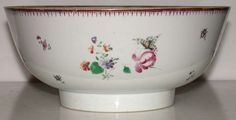 Chinese Qianlong Porcelain Punch Bowl Flowers Butterfly