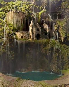 Fairytale fashion fantasy / karen cox.  ♔ Waterfall Castle, The Enchanted Wood