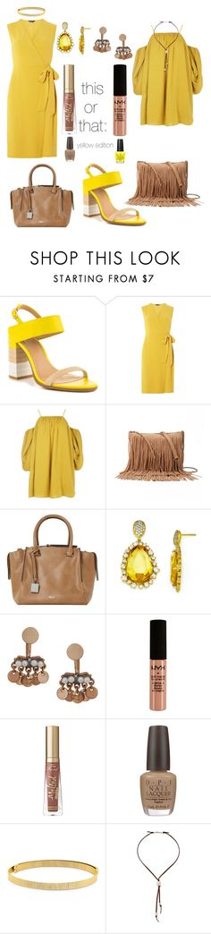 """This or That: Yellow"" by colesumler ❤ liked on Polyvore featuring ALDO, Dorothy Perkins, Boohoo, SONOMA Goods for Life, Dune, Kevin Jewelers, Humble Chic, NYX, Too Faced Cosmetics and OPI"