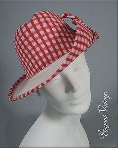 On Ruby Lane - Frank Olive 1960's Fedora *Red White Gingham