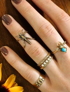 Gold Midi Ring, Unique 14k Insect Cuff Design, Recycled Yellow Gold Bug Band with Diamond Eyes, on Etsy, $325.00