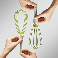 Twist Whisk -- Like to use a whisk but trying to find a way to store it in a drawer?  And what about getting it truly clean when washing by hand -- and not wanting to use 5 gallons of water?  This ingenious design solves the problems!  From TheBoatGalley.com