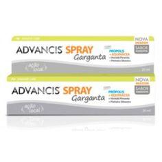 Advancis Spray Garganta é um suplemento alimentar em spray com ação local anti-séptica e calmante e de sabor agradável. Com Própolis, Equinácea, Hortelã Pimenta, Alfazema, Pinheiro Silvestre, Orégãos e Cravinho.