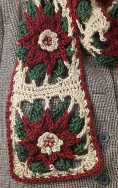 Poinsettia granny square scarf--free pattern.  This block would make a beautiful holiday throw as well.