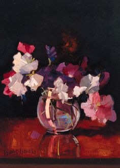 Sweet-peas in a rotund glass Vase, Isaac Israels. Dutch (1865 - 1934)