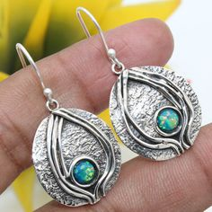"NATURAL Ethiopian Opal Round Gemstone 925 Sterling Silver Dangle Earrings 1.55"" #Handmade #Earring #valentinesday"