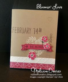 Stampin' Up! Bloomin' Love by Melissa Davies @rubberfunatics for the One Stamp At A Time February Blog Hop #stampinup #rubberfunatics