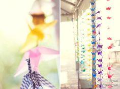 Rainbow stringed cranes, custom order from ArtsyOrigami.   http://www.etsy.com/shop/ArtsyOrigami