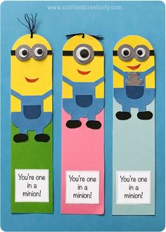 Minion bookmarks with template - by Craft & Creativity Kids Crafts, Hobbies And Crafts, Craft Projects, Arts And Crafts, Paper Crafts, Minions Diy, Minion Card, Creative Bookmarks, Diy Bookmarks