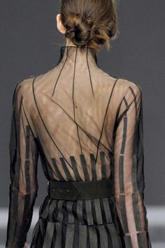 Playfully reinterpret the Parisian stripe in Akris, fall 2008 - this dress is dying to be taken for a late night stroll along the Seine #Akris #sheer