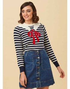 Mariner Trompe L'Oeil Sailor Collar Jumper by Joanie Clothing 1950s Fashion, Vintage Fashion, Joanie Clothing, Bristol Fashion, Black Circle Skirts, Nautical Fashion, Nautical Style, Sailor Collar, Full Skirts