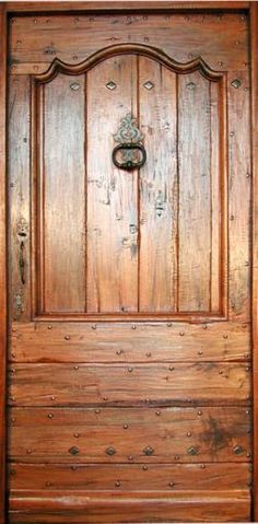 Front doors : Portes Antiques Oak Doors, Iron Doors, Entrance Doors, Oak Front Door, Grey Front Doors, Patina Paint, Aging Wood, Door Knockers, Spanish Style