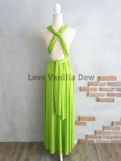 Bridesmaid Dress Infinity Dress Lime Green Floor Length Maxi Wrap Convertible  Dress Wedding Dress bc270150501d