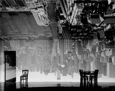 New york - Camera Obscura. I LOVE the upside-down projections of New York- love the black and white, love the claustrophobic feel. Act 1 set inspiration.