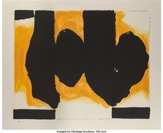 Artwork by Robert Motherwell, Burning Elegy, Made of Lithograph and handcoloring in colors on wove paper